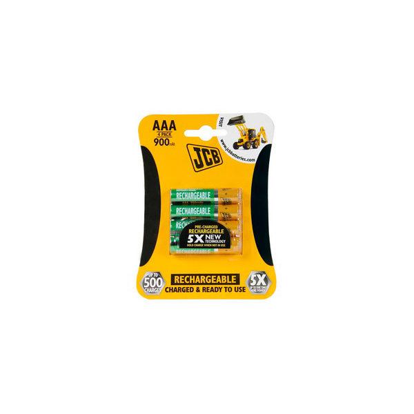 JCB  RTU  NiMH  AAA  R03  900mAh    előre töltött  elem akkumulátor akku  4  db/csomag JCB-HR31000RC-4B