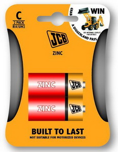 JCB cink-klorid elem C / R14, 2 db/csomag JCB-R14-2B