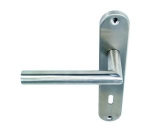 Dveřní klika, zaoblený štítek, rozteč 90mm pro dveře 35-55mm SSG001