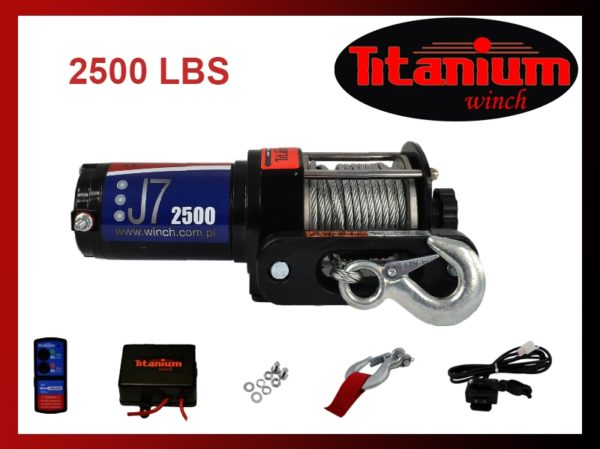 Titanium csörlő emelő 12 V J7 2500 LBS 1135 KG távirányító 55601