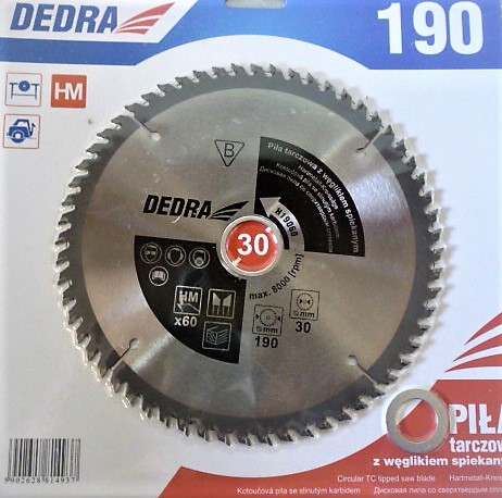 Dedra karbidos vídiás körfűrészlap vágótárcsa körfűrész lap fához 190×30 60 fogas H19060