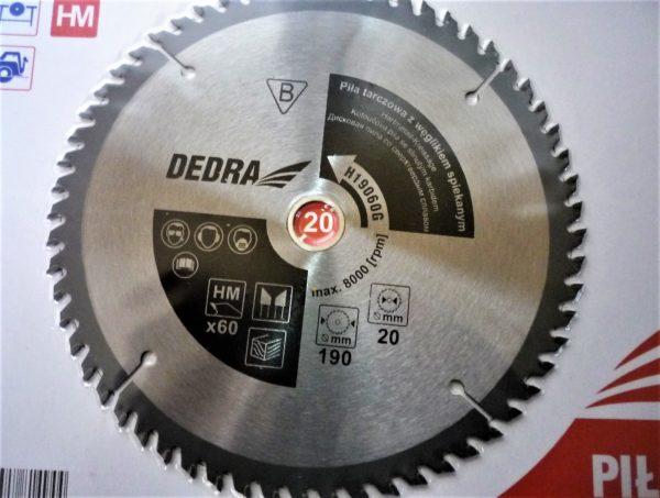 Dedra karbidos vídiás körfűrészlap vágótárcsa körfűrész lap fához 190×20 60 fogas H19060G