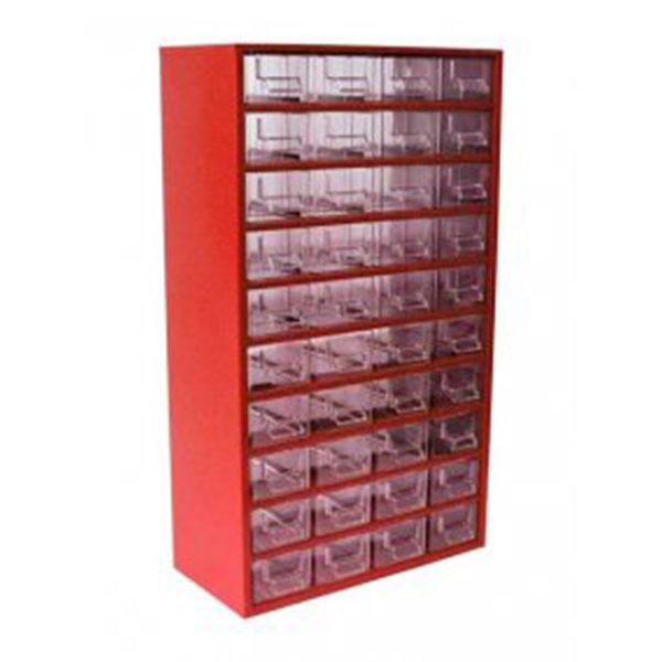 Mars műanyag szekrény fiókos tároló szerszámtároló 40 fiók piros 630 x 366 x 172 mm 7800C