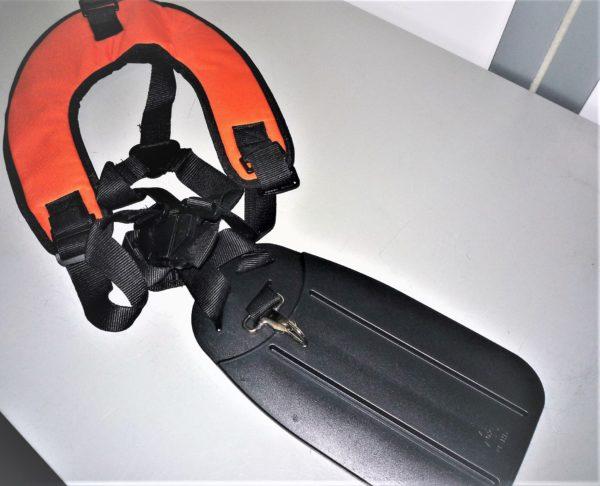 Fűkasza bozótvágó heveder vállpánt hám heveder vállheveder szövet műanyag narancs fekete FVPHSZ