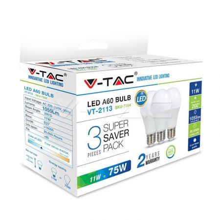 V-TAC LED izzó szett 3 db E27 11W 2700K meleg fehér 7352