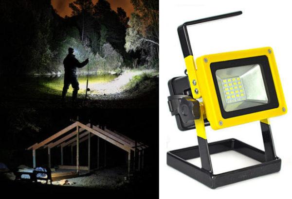 Kültéri akkumulátoros LED reflektor 10W hordozható LC-701