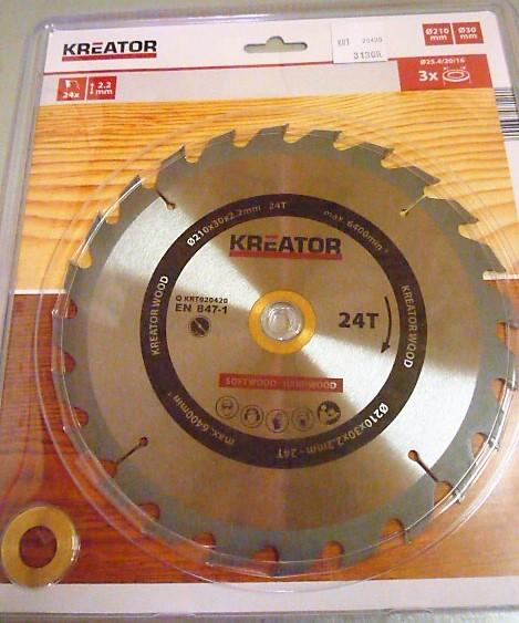 Kreator körfűrész vágótárcsa korong vídiás 210 mm 24 fogas KRT020420