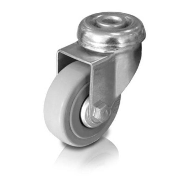 Ipari kerék 100mm forgó (furatos rögzítés, szürke gumis) 33303