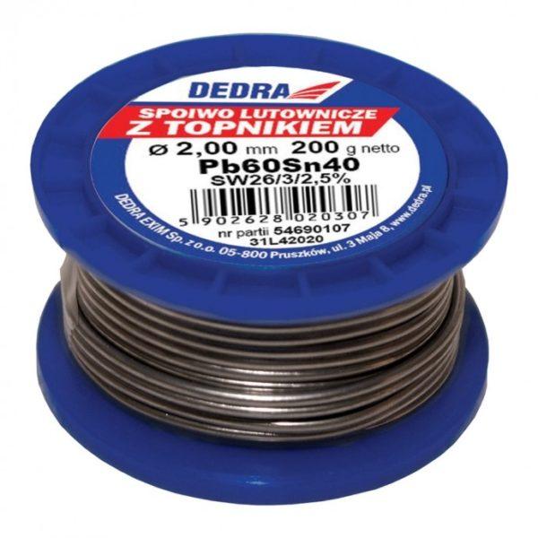 Dedra Forrasztódrót folyasztószerrel 2,0mm 200g drót cin ón 40%SN Pb60Sn40 31L42020
