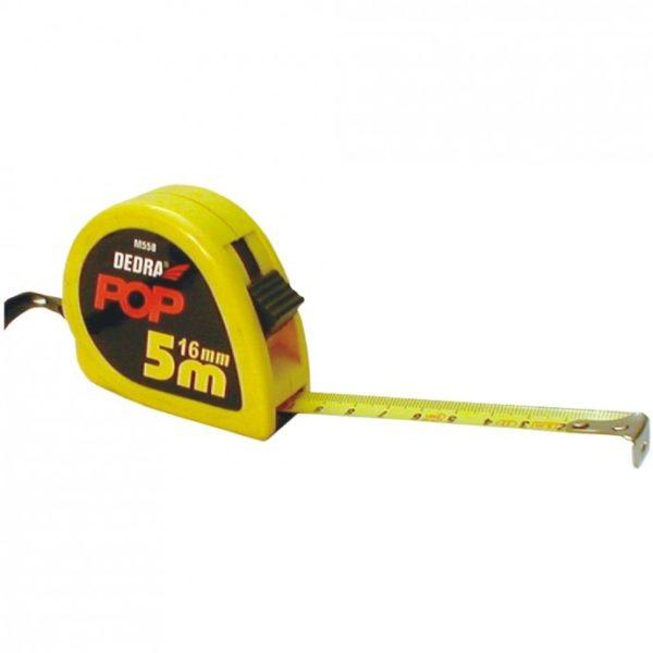 Dedra 2m/13mm mérőszalag, STOP gomb, sárga M258
