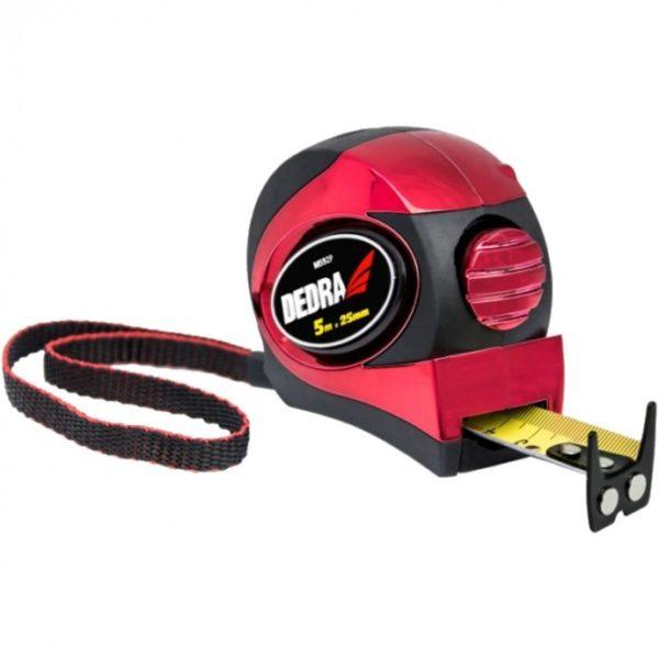 Dedra 5m/25mm mérőszalag, piros, automata blokkolás, mágnes, kétoldalas szalag, gumi borít M592P