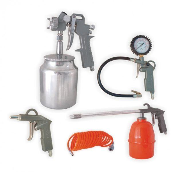 Dedra Pneumatikus készlet 5db, felültöltős festékszóró pisztoly, alultöltős festékszóró A533010