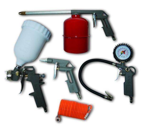 Dedra Pneumatikus készlet 5db, felültöltős festékszóró pisztoly, alultöltős festékszóró A532009