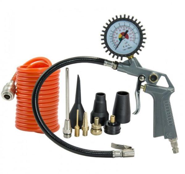 Dedra Szivattyúzó készlet, nyomásmérő pisztoly, 3m tömlő + 8x kiegészítő A532008
