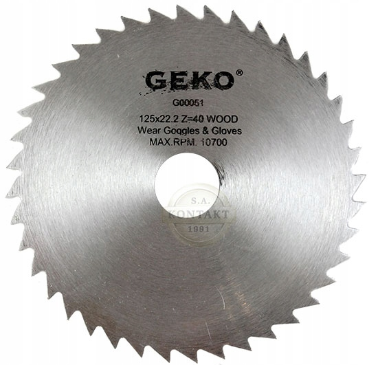 Geko körfűrészlap körfűrész lap vágótárcsa korong 125 x 22 mm 40 fogas G00051