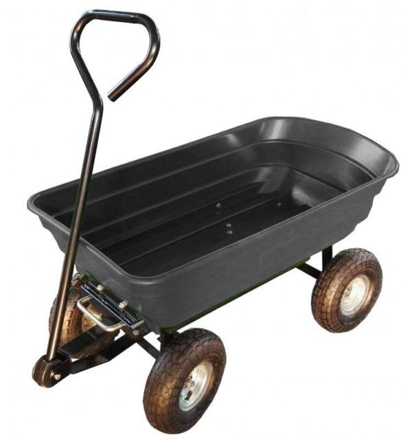 Kerti kocsi kertikocsi kézikocsi kiskocsi 300 kg teherbírás műanyag puttony fém váz WOZ3689