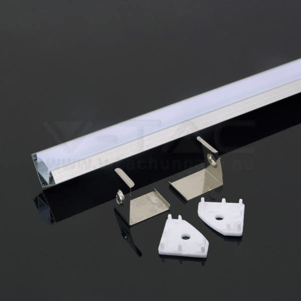 V-TAC Led Alumínium profil tejfehér 2000 x 19 x 19mm sarok – 3356