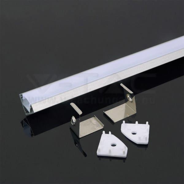 V-TAC Led Alumínium profil fehér 2000 x 19 x 19mm sarok – 3364
