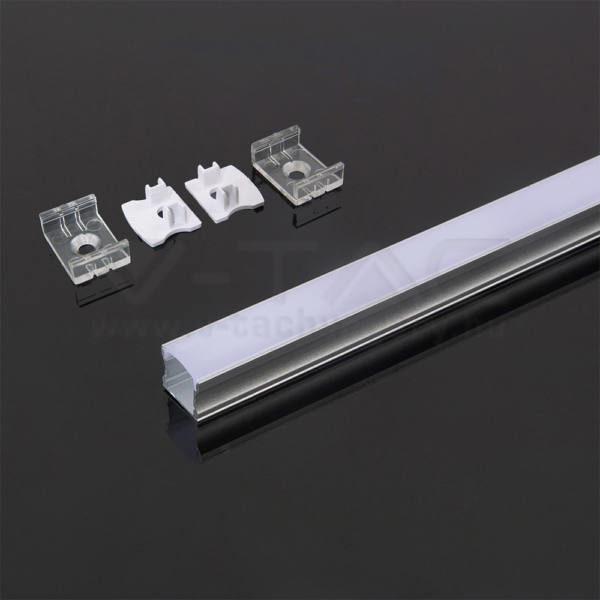 V-TAC Led Alumínium profil fehér 2000 x 17.2 x 15.5mm – 3366