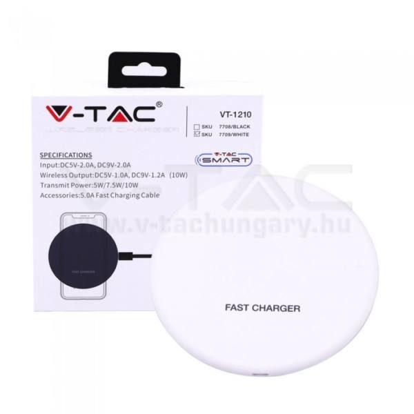 V-TAC Vezeték nélküli gyorstöltő 5A – fehér – 7709