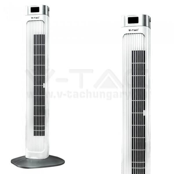 V-TAC 55W Torony ventilátor hőmérséklet kijelzővel és távirányítóval fehér színű – 7900