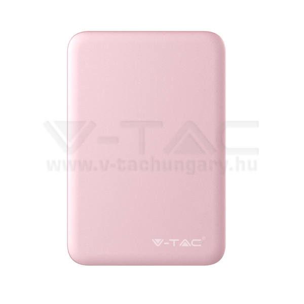 V-TAC Powerbank (hordozható töltő) 5000mAh rózsaszín – 8194