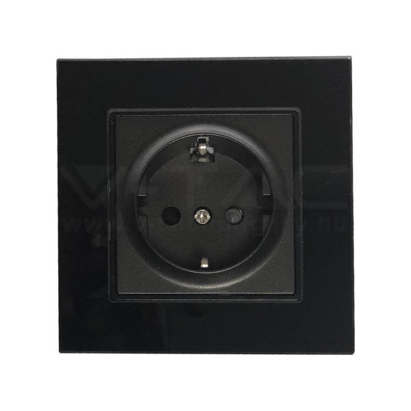 V-TAC EU Konnektor 16A üveg panel fekete színű – 8399