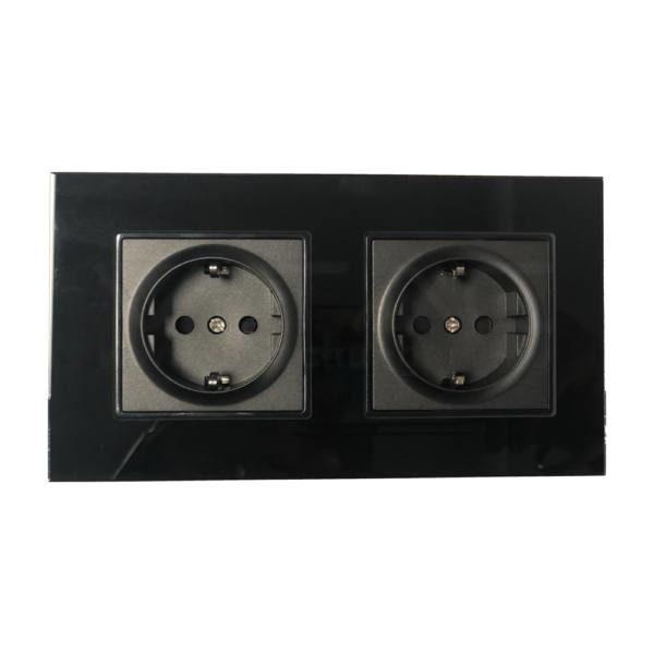 V-TAC EU Kettős Konnektor 16A üveg panel fekete színű – 8401
