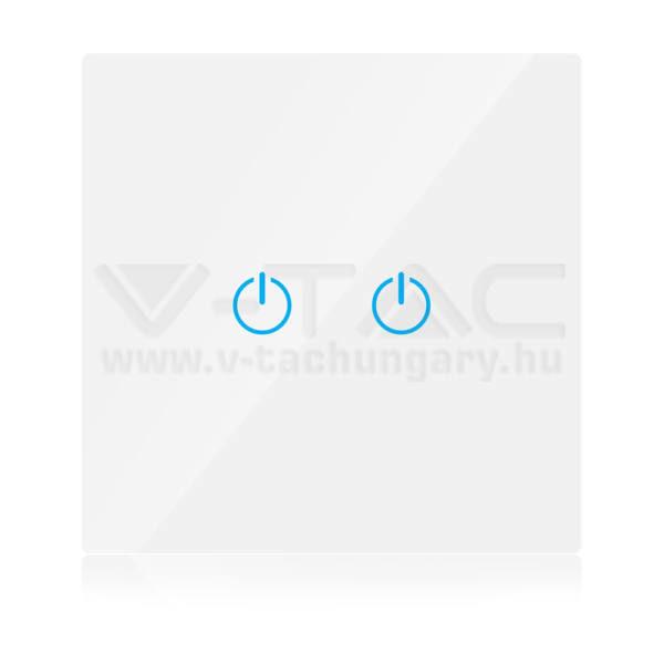 V-TAC SMART WIFI-s Érintős kapcsoló 2 gombos fehér – 8418