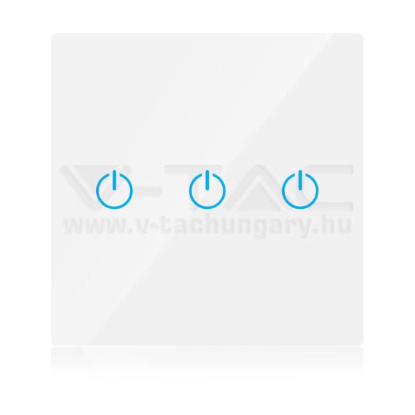 V-TAC SMART WIFI-s Érintős kapcsoló 3 gombos fehér – 8419