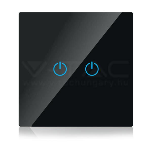 V-TAC SMART WIFI-s Érintős kapcsoló 2 gombos fekete – 8424