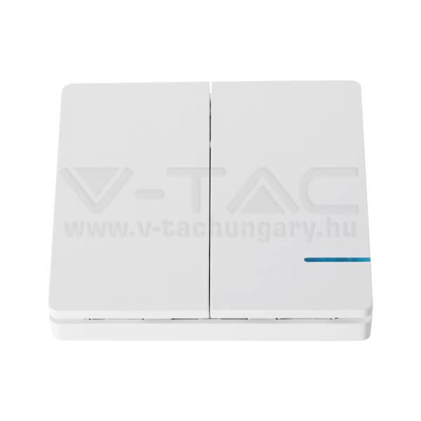 V-TAC Vezeték nélküli villanykapcsoló, 2 kapcsolóval, IP54 – 8461