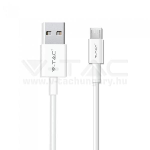V-TAC 1M Micro USB kábel fehér ezüst széria – 8484