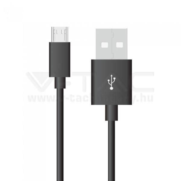 V-TAC 1M Micro USB kábel fekete ezüst széria – 8485