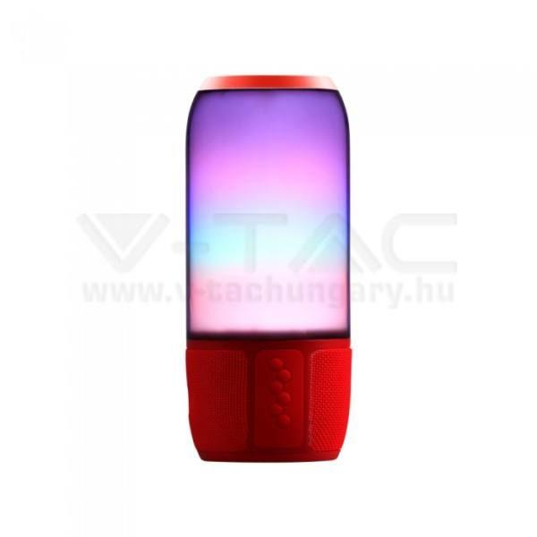 V-TAC 2x3W LED Bluetooth hangszóró USB és Kártya olvasóval Piros színű – 8571