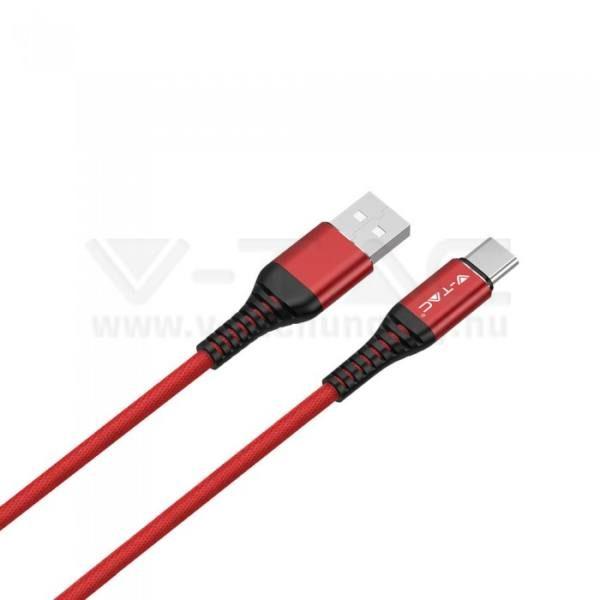 V-TAC 1M C Típusú USB kábel piros arany széria – 8634