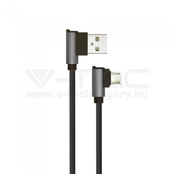 V-TAC 1M Micro USB kábel fekete gyémánt széria – 8635