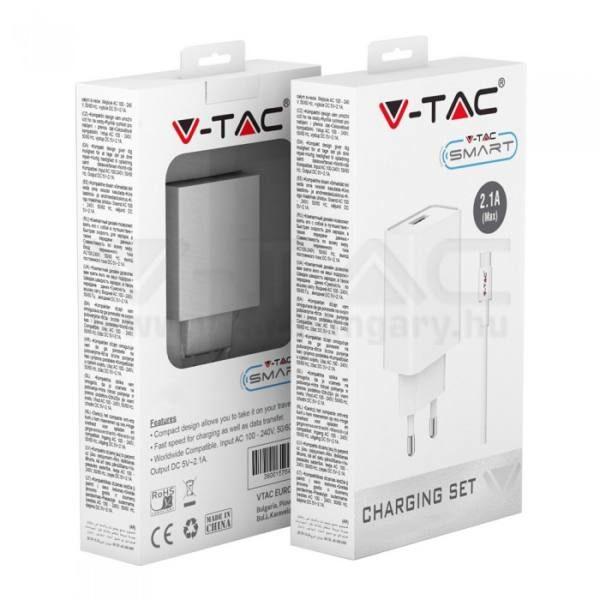 V-TAC Töltő szett (adapter + micro USB töltő kábel) – fehér – 8645