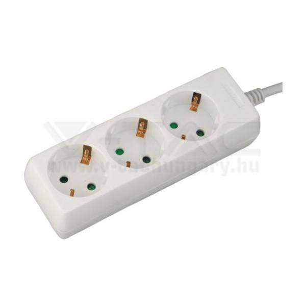 V-TAC Hosszabbító 3 csatlakozós 3m kábel fehér színű – 8755