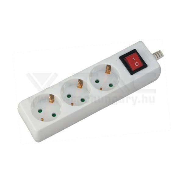 V-TAC Hosszabbító kapcsolóval 3 csatlakozós 1,5m kábel fehér színű – 8762
