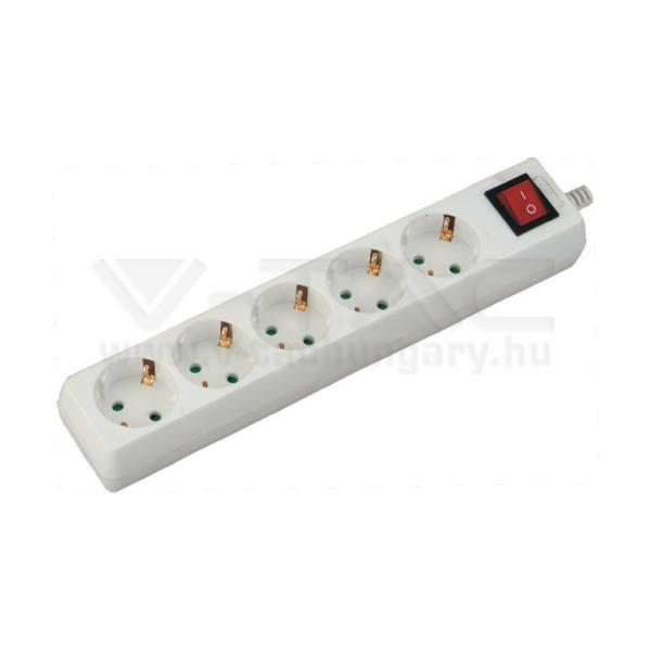 V-TAC Hosszabbító kapcsolóval 5 csatlakozós 1,5m kábel fehér színű – 8766