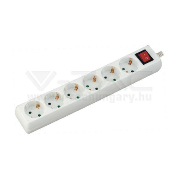 V-TAC Hosszabbító kapcsolóval 6 csatlakozós 1,5m kábel fehér színű – 8768