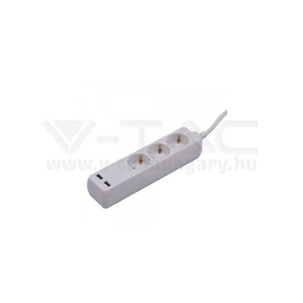 V-TAC Hosszabbító kapcsolóval 3 csatlakozós 2 USB csatlakozóval 1,5m kábel fehér színű – 8774