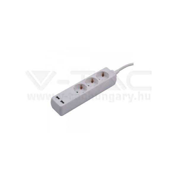 V-TAC Hosszabbító kapcsolóval 3 csatlakozós 2 USB csatlakozóval 5m kábel fehér színű – 8775