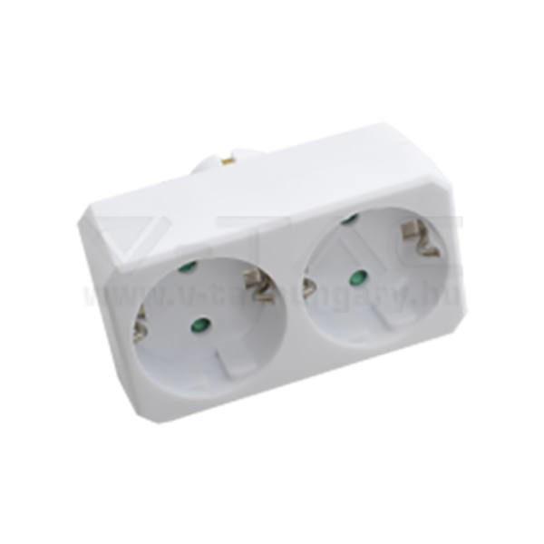 V-TAC 2-es Hálózati elosztó 16A 250V fehér – 8783