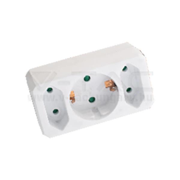 V-TAC Hálózati elosztó (2 euro, 1 földelt) 10/16A 250V fehér – 8784