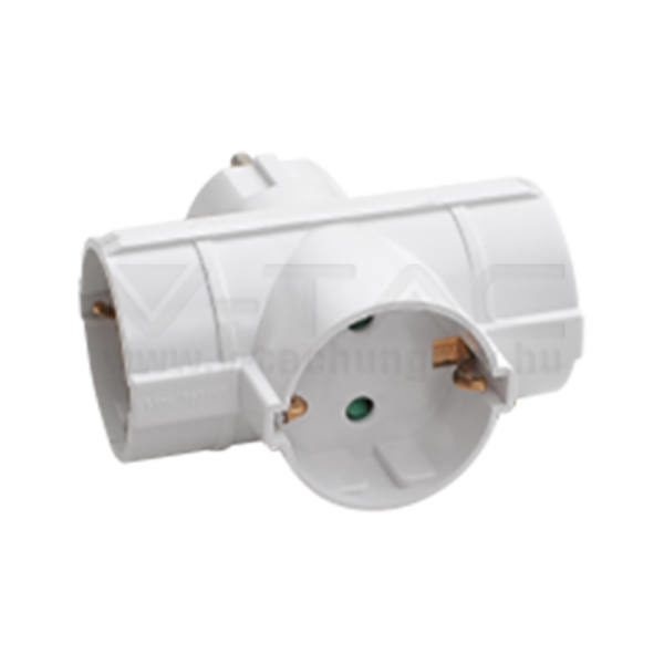 V-TAC 3-as Hálózati T-elosztó 10/16A 250V fehér – 8786