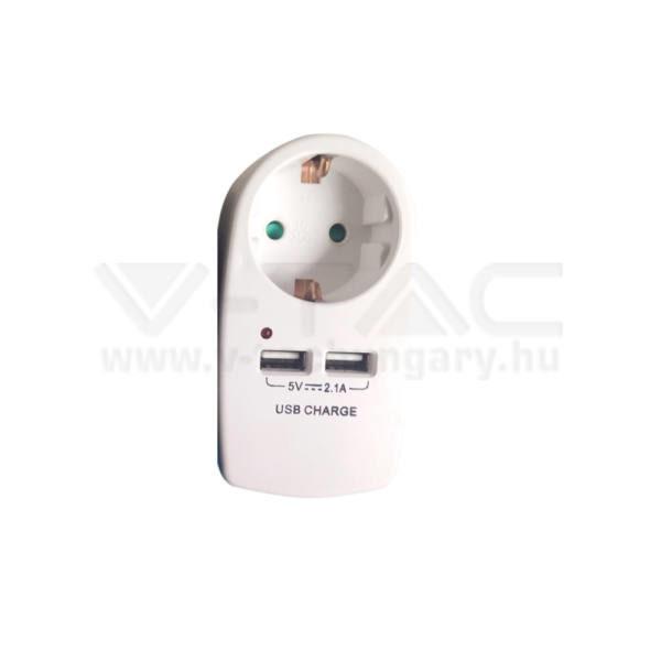 V-TAC Hálózati adapter 2 USB porttal fehér színű – 8795