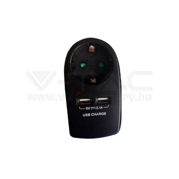 V-TAC Hálózati adapter 2 USB porttal fekete színű – 8796