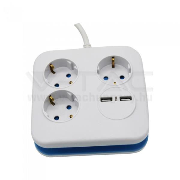 V-TAC 3-as hálózati elosztó 2db USB cstlakozóval 1.4m – 8799